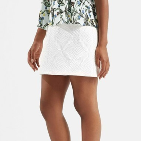 Topshop Dresses & Skirts - TOPSHOP White Quilted A-Line Mini Rose Gold Zipper